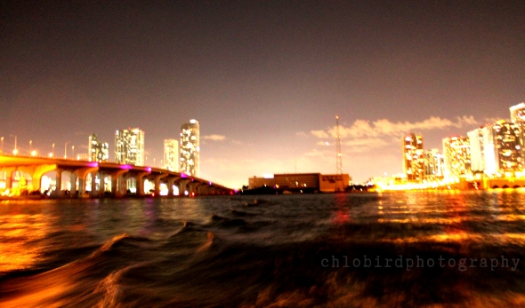 between two bridges -395 Highway on left and the Venetian Causeway on the right.