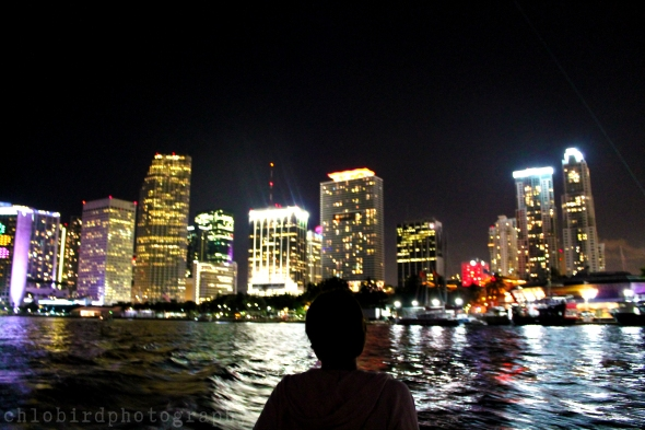 My favorite pic of the day - nina looking into city lights